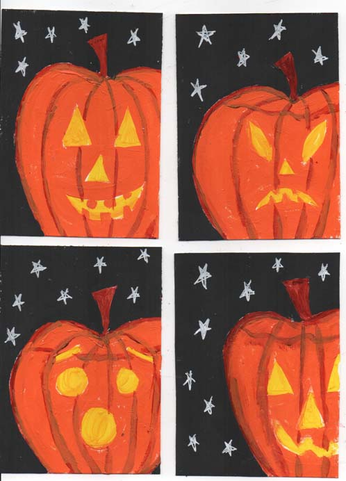 Pumpkin Face ATCs